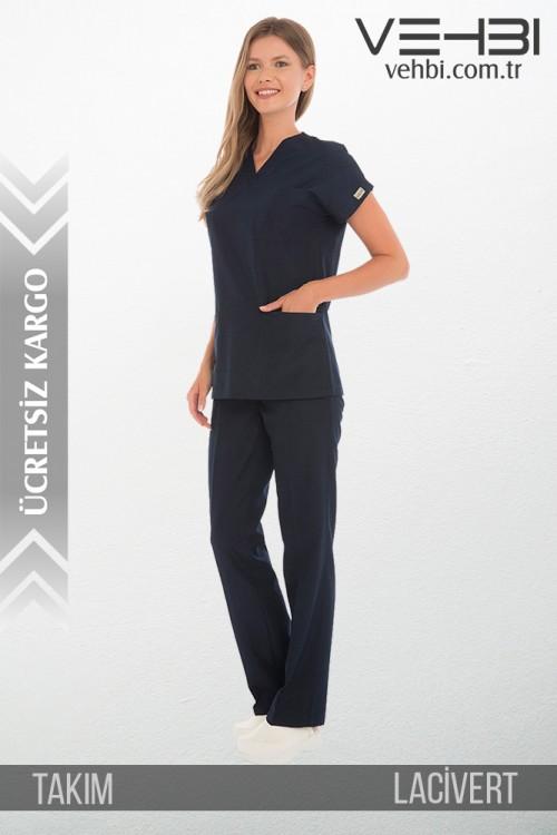 V Yaka Doktor-Hemşire Forma Takım (Terikoton Kumaş-Dr Greys-Bayan)
