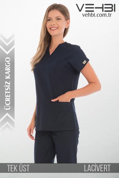 V Yaka Doktor-Hemşire Forma Üst (Terikoton Kumaş-Dr Greys-Bayan)