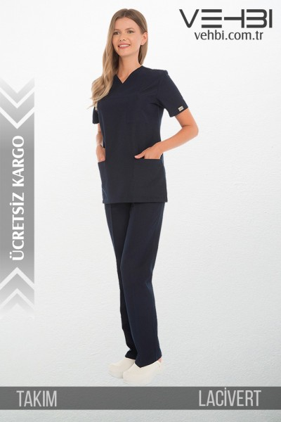 Zarf Yaka Doktor Hemşire Forma Takım (Alpaka Kumaş-Klasik Kol-Kadın)
