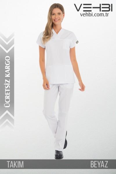 Zarf Yaka Doktor-Hemşire Forma Takım (Alpaka Kumaş-Yarasa Kol-Bayan)