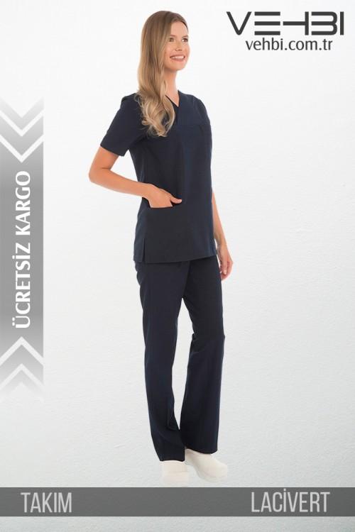 Zarf Yaka Doktor-Hemşire Forma Takım (Terikoton Kumaş-Klasik Kol-Bayan)