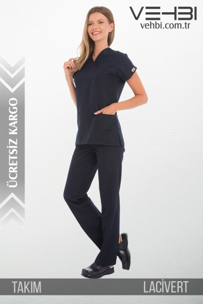 Zarf Yaka Doktor-Hemşire Forma Takım (Terikoton Kumaş-Yarasa Kol-Bayan)