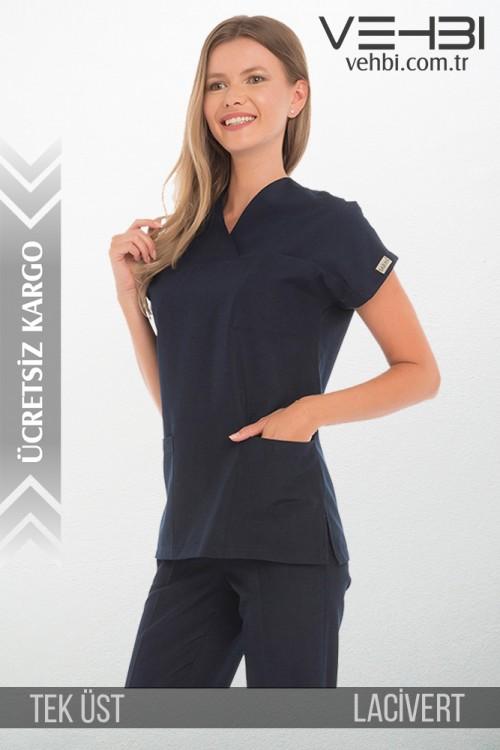 Zarf Yaka Doktor-Hemşire Forma Üst (Terikoton Kumaş-Yarasa Kol-Bayan)