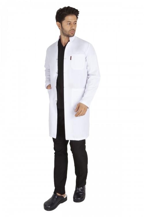 Hakim Yaka Erkek Doktor Öğretmen Önlüğü - Beyaz Önlük