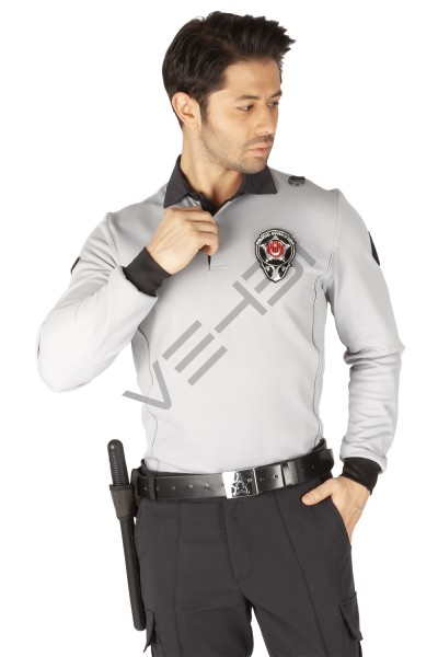 Yeni Tip Kamu Özel Güvenlik Erkek Kışlık Uzun Kol Tişört (İçi Şardonlu) - 3D Arma Apolet Hediyeli