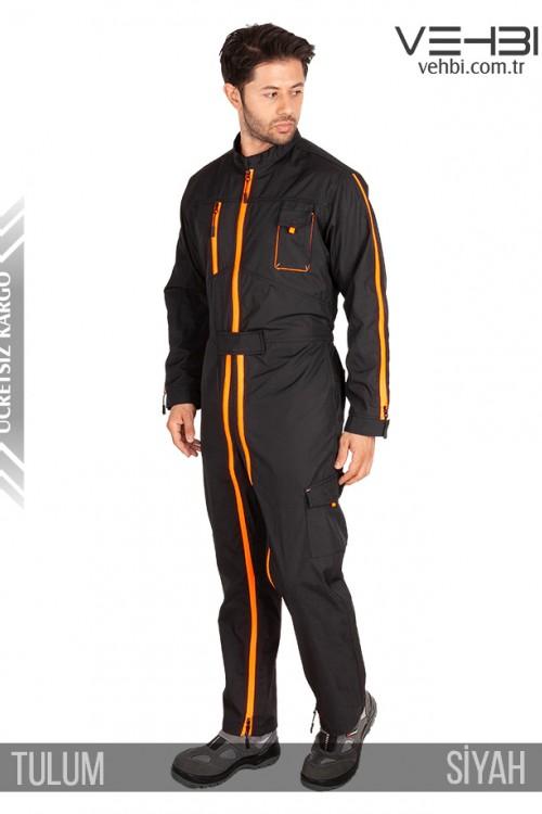 Özel Tasarımlı Boydan Fermuarlı Erkek Tulum (Siyah Renk)