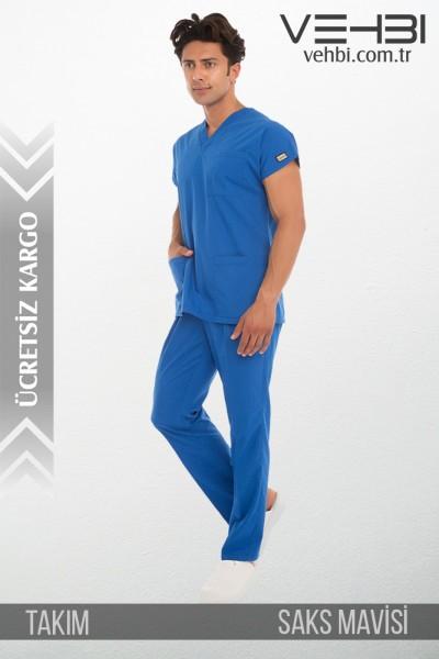 V Yaka Doktor-Hemşire Forma Takım (Terikoton Kumaş-Dr Greys-Erkek)