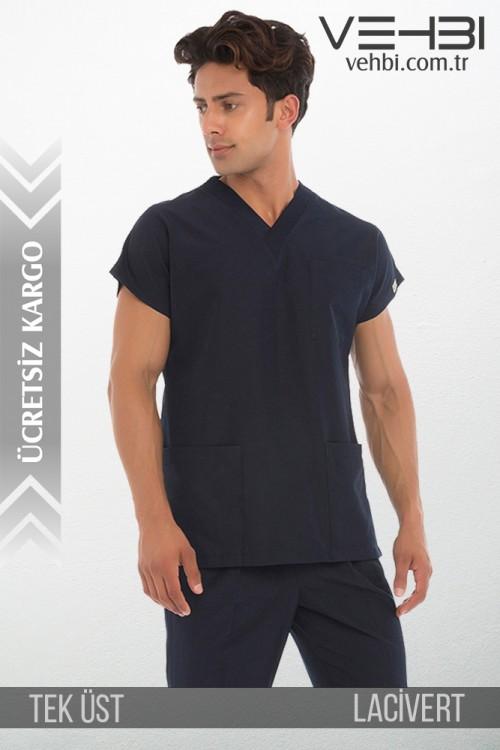 V Yaka Doktor-Hemşire Forma Üst (Terikoton Kumaş-Dr Greys-Erkek)