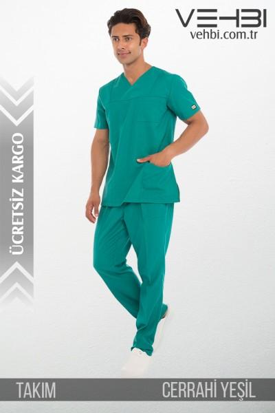 Zarf Yaka Doktor-Hemşire Forma Takım (Alpaka Kumaş-Klasik Kol-Erkek)