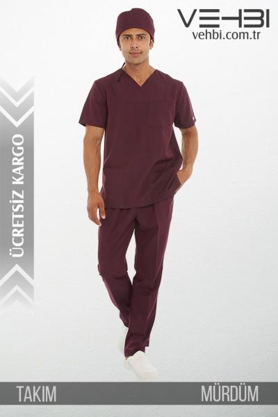 Zarf Yaka Doktor-Hemşire Forma Takım (Terikoton Kumaş-Klasik Kol-Erkek)