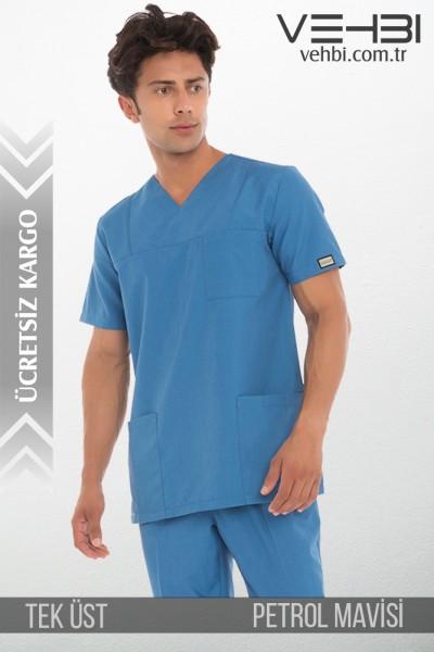 Zarf Yaka Doktor-Hemşire Forma Üst (Terikoton Kumaş-Klasik Kol-Erkek)
