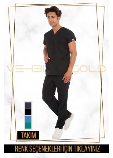Vehbi Özel Gold Likralı V Yaka Doktor Hemşire Forması Takımı (Dr Greys Modeli-Erkek)
