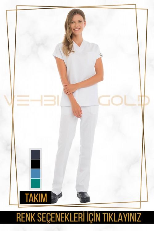 Vehbi Özel Gold Likralı V Yaka Doktor Hemşire Forması Takımı (Dr Greys Modeli-Kadın)