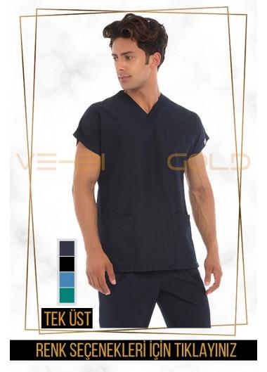 Vehbi Özel Gold Likralı V Yaka Doktor Hemşire Forması Tek Üst (Dr Greys Modeli-Erkek)