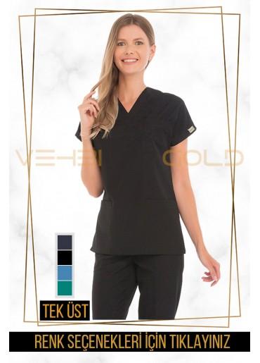 Vehbi Özel Gold Likralı V Yaka Doktor Hemşire Forması Tek Üst (Dr Greys Modeli-Kadın)