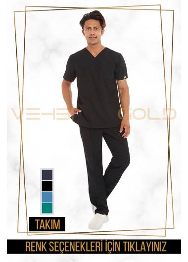 Vehbi Özel Gold Likralı Zarf Yaka Doktor Hemşire Forması Takımı (Klasik Kol-Erkek)