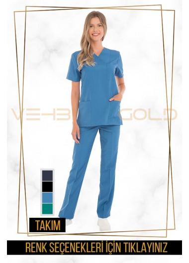 Vehbi Özel Gold Likralı Zarf Yaka Doktor Hemşire Forması Takımı (Klasik Kol-Kadın)