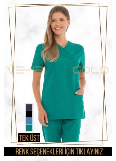 Vehbi Özel Gold Likralı Zarf Yaka Doktor Hemşire Forması Tek Üst (Klasik Kol-Kadın)