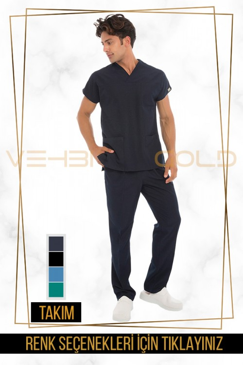 Vehbi Özel Gold Likralı Zarf Yaka Doktor Hemşire Forması Takımı (Yarasa Kol-Erkek)