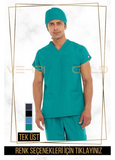 Vehbi Özel Gold Likralı Zarf Yaka Doktor Hemşire Forması Tek Üst (Yarasa Kol-Erkek)