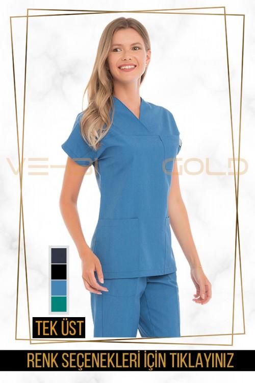 Vehbi Özel Gold Likralı Zarf Yaka Doktor Hemşire Forması Tek Üst (Yarasa Kol-Kadın)