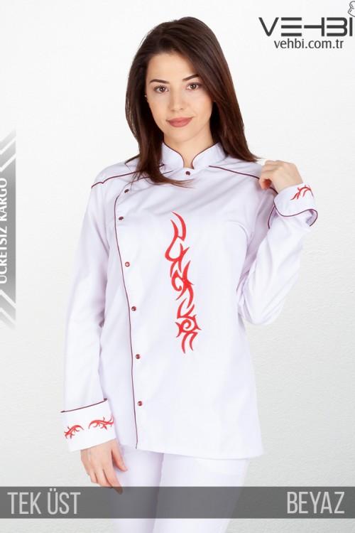 Showoff Kadın Aşçı Kıyafeti Elbisesi Ceketi Tek Üst