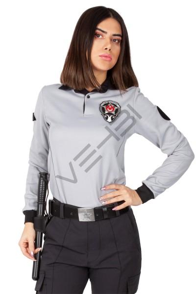 Yeni Tip Kamu Özel Güvenlik Kadın Kışlık Uzun Kol Tişört (İçi Şardonlu) - 3D Arma Apolet Hediyeli