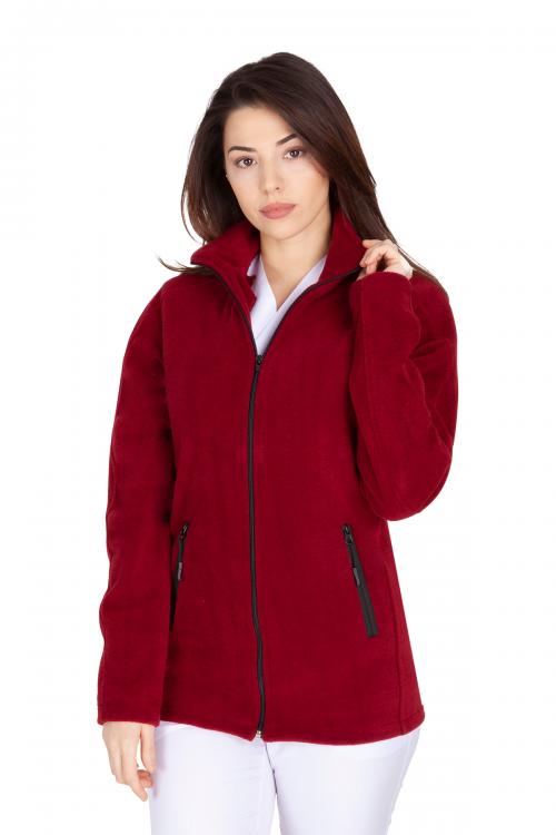 Bordo Kadın Doktor Hemşire Poları Hastane Kışlık Polar Ceket Modeli