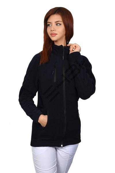 Lacivert Kadın Doktor Hemşire Poları Hastane Kışlık Polar Ceket Modeli