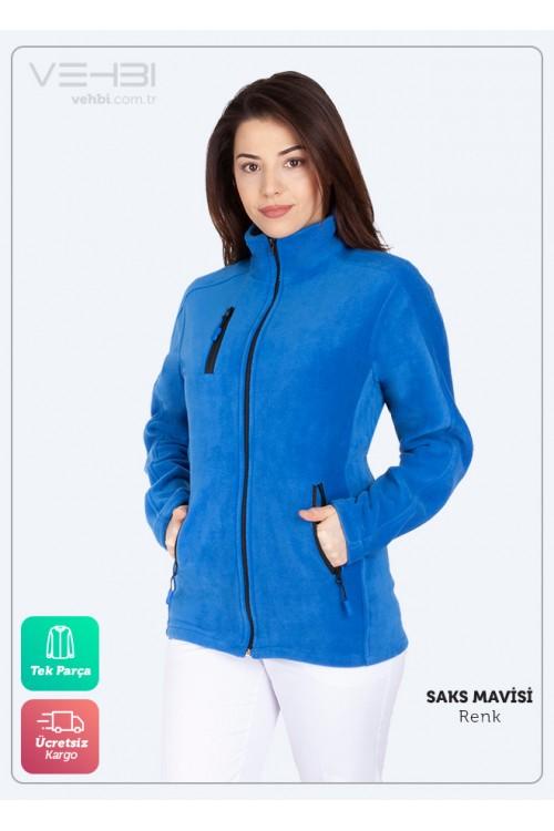 Saks Mavisi Kadın Doktor Hemşire Poları Hastane Kışlık Polar Ceket Modeli
