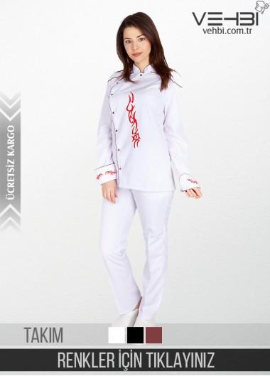 Showoff Kadın Aşçı Kıyafeti Elbisesi Ceketi Takımı