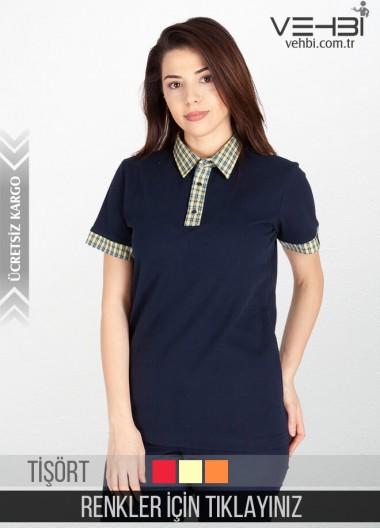Gömlek Yaka Kadın Garson Tişörtü Garson Kıyafeti (Yakası Desenli)