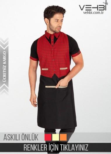 Erkek Garson Komi Askılı Önlüğü Garson Yeleği