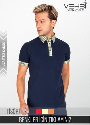 Gömlek Yaka Erkek Garson Tişörtü Garson Kıyafeti (Yakası Desenli)
