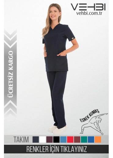 Likralı Zarf Yaka Doktor-Hemşire Forma Takım (Klasik Kol-Bayan)