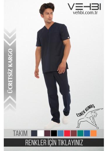 Likralı Zarf Yaka Doktor-Hemşire Forma Takım (Klasik Kol-Erkek)