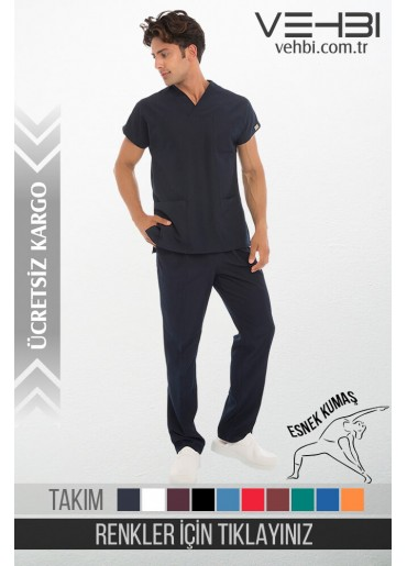Likralı Zarf Yaka Doktor-Hemşire Forma Takım (Yarasa Kol-Erkek)