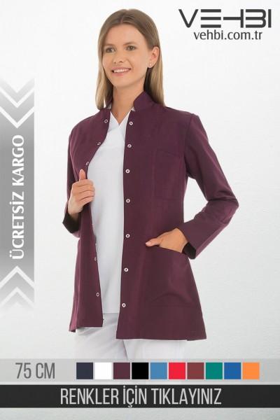 Hakim Yaka Kadın Ceket Kısa Önlük (Alpaka Kumaş)