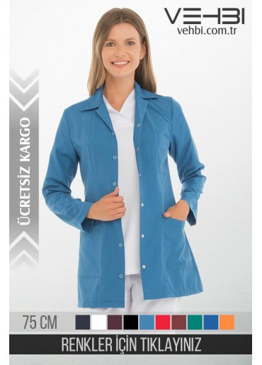 Klasik Yaka Bayan Ceket Kısa Önlük (Alpaka Kumaş)