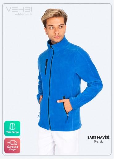 Saks Mavisi Erkek Doktor Hemşire Poları Hastane Kışlık Polar Ceket Modeli