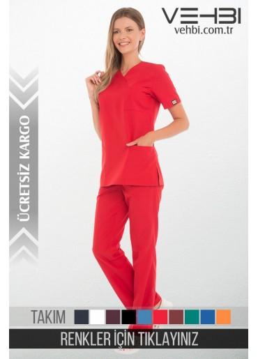 Zarf Yaka Doktor-Hemşire Forma Takım (Alpaka Kumaş-Klasik Kol-Bayan)