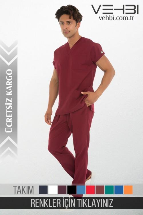 V Yaka Doktor-Hemşire Forma Takım (Alpaka Kumaş-Dr Greys-Erkek)