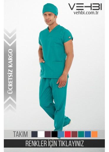 Zarf Yaka Doktor-Hemşire Forma Takım (Alpaka Kumaş-Yarasa Kol-Erkek)