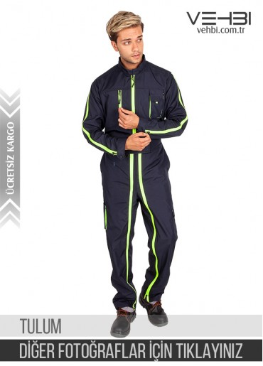 Özel Tasarımlı Boydan Fermuarlı Erkek Tulum (Lacivert Renk)