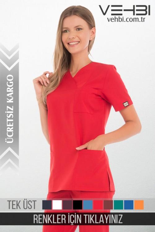 Zarf Yaka Doktor-Hemşire Forma Üst (Alpaka Kumaş-Klasik Kol-Bayan)