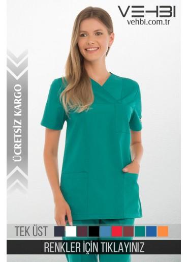Zarf Yaka Doktor-Hemşire Forma Üst (Terikoton Kumaş-Klasik Kol-Bayan)