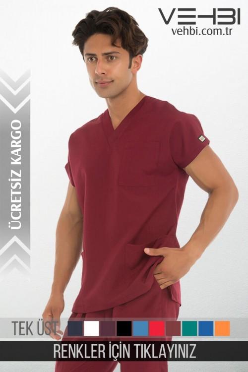 V Yaka Doktor-Hemşire Forma Üst (Alpaka Kumaş-Dr Greys-Erkek)