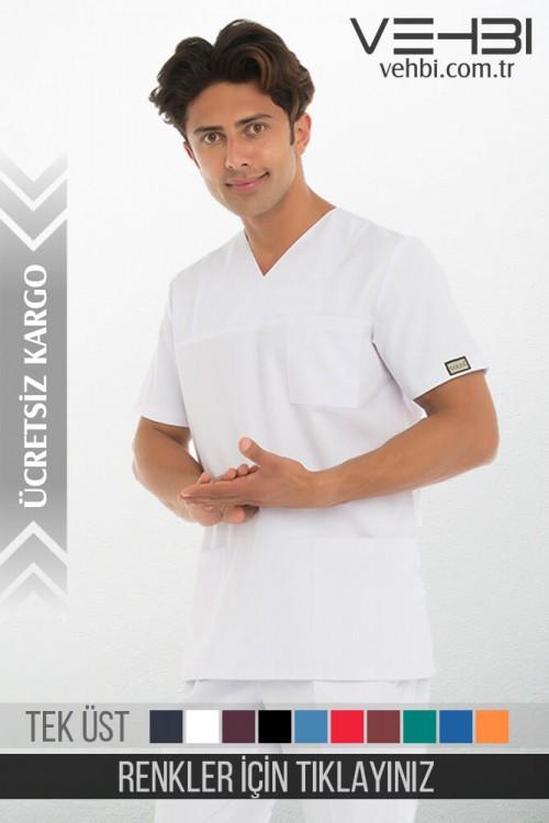Zarf Yaka Doktor-Hemşire Forma Üst (Alpaka Kumaş-Klasik Kol-Erkek)