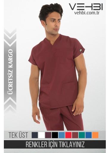Zarf Yaka Doktor-Hemşire Forma Üst (Alpaka Kumaş-Yarasa Kol-Erkek)